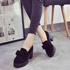 Women's Suede Chunky Heel Pumps Closed Toe Boots Ankle Boots With Bowknot shoes