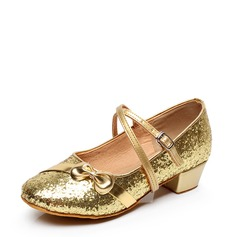 Kids' Leatherette Flats Latin Modern With Bowknot Buckle Sequin Dance Shoes
