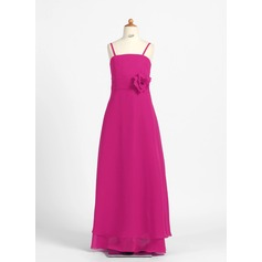 A-Line/Princess Floor-Length Chiffon Junior Bridesmaid Dress With Flower(s)