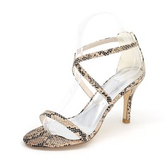 Women's Leatherette Stiletto Heel Peep Toe Pumps Sandals With Buckle Imitation Pearl Animal Print (047102129)