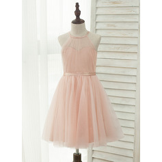 Knee-length Flower Girl Dress - Tulle Charmeuse Sleeveless Halter (269213932)