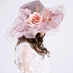 Ladies' Glamourous/Elegant/Pretty Net Yarn With Flower Beach/Sun Hats/Kentucky Derby Hats/Tea Party Hats