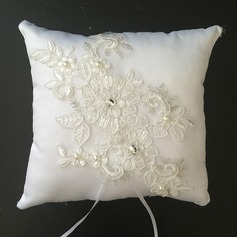 Floral Design Ring Pillow in Satin/Lace With Rhinestones/Faux Pearl