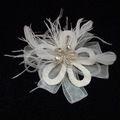 Classic Rhinestone/Feather/Tulle Flowers & Feathers With Rhinestone