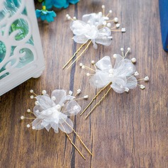 Ladies Classic Imitation Pearls/Silk Flower Hairpins (Set of 3)