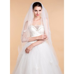 Two-tier Cut Edge Waltz Bridal Veils With Applique