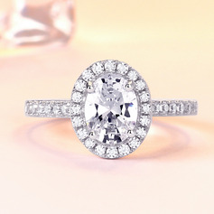Sterling Silver Cubic Zirconia Halo Oval Cut Promise Rings