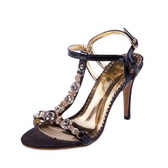 Women's Leatherette Stiletto Heel Sandals Slingbacks With Rhinestone shoes
