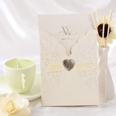 Floral Style Wrap & Pocket Invitation Cards With Ribbons