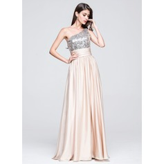 A-Line/Princess One-Shoulder Floor-Length Charmeuse Sequined Prom Dress With Ruffle
