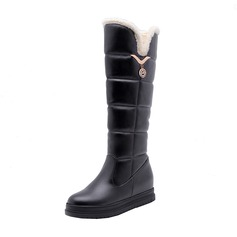 Women's Leatherette Flat Heel Platform Boots Knee High Boots Snow Boots With Crystal shoes