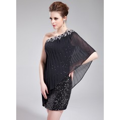 Sheath/Column One-Shoulder Short/Mini Chiffon Sequined Cocktail Dress With Beading Appliques Lace Pleated