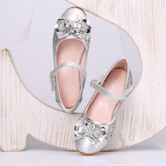 Girl's Closed Toe Leatherette Low Heel Pumps Flower Girl Shoes With Bowknot Rhinestone Sequin Velcro