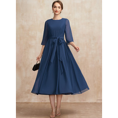 A-Line Scoop Neck Tea-Length Chiffon Mother of the Bride Dress With Ruffle Bow(s)