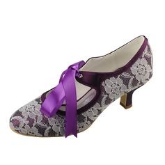 Women's Lace Satin Low Heel Closed Toe Pumps