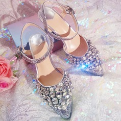 Women's Sparkling Glitter Stiletto Heel Peep Toe Sandals Beach Wedding Shoes With Rhinestone (047121857)