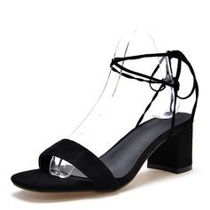 Frauen Veloursleder Stämmiger Absatz Sandalen Absatzschuhe Peep Toe Slingpumps mit Zuschnüren Schuhe