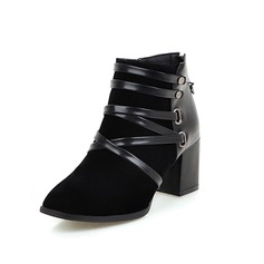 Women's Suede Chunky Heel Ankle Boots Martin Boots With Sparkling Glitter Braided Strap shoes