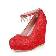 Women's PU Wedge Heel Platform Closed Toe Wedges With Chain shoes