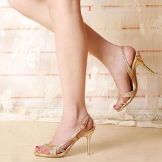 Women's Sparkling Glitter Stiletto Heel Sandals Peep Toe Slingbacks With Satin Flower Hollow-out shoes