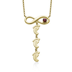 Custom 18k Gold Plated Baby Feet Three Birthstone Necklace Engraved Necklace Infinity Necklace With Kids Names Birthstone - Birthday Gifts