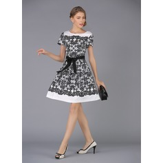 Polyester/Cotton With Print Above Knee Dress (199086967)