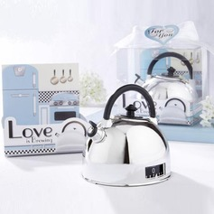 """Love is Brewing"" Teapot Chrome Timer With Ribbons/Tag"