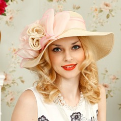 Ladies' Beautiful Rattan Straw With Silk Flower Straw Hat