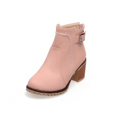 Women's Leatherette Low Heel Platform Ankle Boots With Buckle shoes