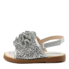 Flicka Peep Toe Slingback sparkling blänker Sandaler Flower Girl Shoes