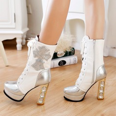 Women's Leatherette Spool Heel Boots Closed Toe With Crystal Heel Lace-up