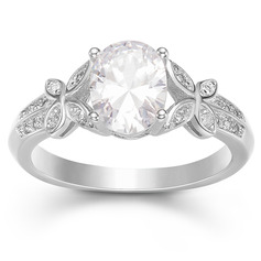 Sterling Silver Cubic Zirconia Butterfly Oval Cut Engagement Rings Promise Rings -