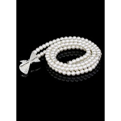 Gorgeous Imitation Pearls Belt With Rhinestones