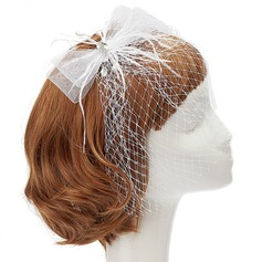 Fashion Net Yarn/Feather Fascinators With Rhinestone/Venetian Pearl