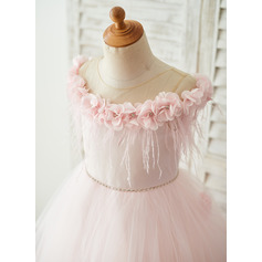 A-Line Sweep Train Flower Girl Dress - Tulle Sleeveless Scoop Neck With Flower(s)