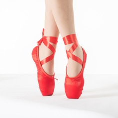 Women's Satin Flats Pointe Shoes With Lace-up Dance Shoes