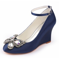 Women's Silk Like Satin Stiletto Heel Closed Toe Pumps Wedges With Crystal