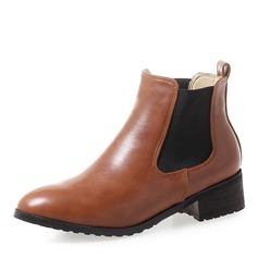 Women's Leatherette Low Heel Boots Ankle Boots With Elastic Band shoes