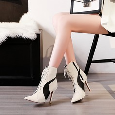 Women's PU Stiletto Heel Pumps Boots With Lace-up Split Joint shoes