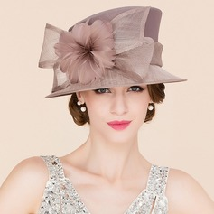 Dames Accrocheur Batiste avec Feather Chapeau melon / Chapeau cloche/Kentucky Derby Des Chapeaux/Chapeaux Tea Party