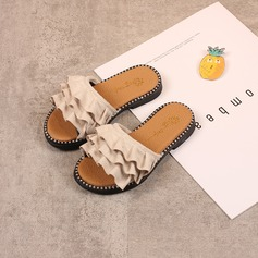 Girl's Peep Toe Suede Flats Slippers With Ruffles