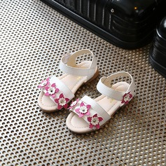 Jentas Titte Tå Leather flat Heel Sandaler Flate sko Flower Girl Shoes med Velcro Blomst