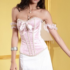 Women Feminine Satin Waist Cinchers With Bowknot/Imitation Pearls Shapewear