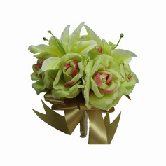 Simple And Elegant Hand-tied/Round Satin Bridesmaid Bouquets