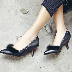 Women's Real Leather Stiletto Heel Pumps Closed Toe With Rivet Fur shoes