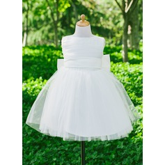 Empire Flower Girl Dress - Satin Sleeveless Scoop Neck With Bow(s)