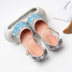Girl Closed Toe Microfiber Leather Flower Girl Shoes With Bowknot Buckle Rhinestone