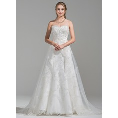 A-Line/Princess Sweetheart Chapel Train Tulle Lace Wedding Dress With Beading Sequins