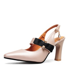 Women's PU Stiletto Heel Sandals Pumps Slingbacks With Bowknot shoes