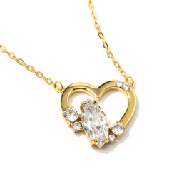 Ladies' Heart Shaped Copper/Cubic Zirconia With Oval Cubic Zirconia Necklaces For Her